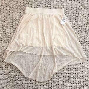 Rubbish cream high-low off white skirt